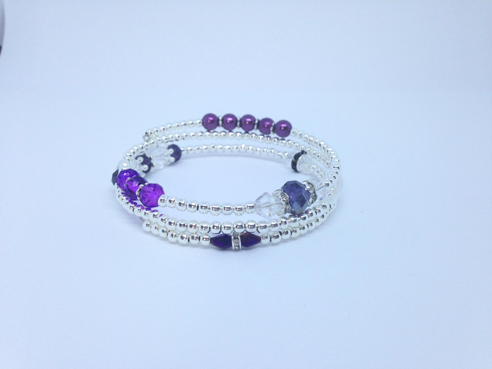 Bracelet violet 3 tours