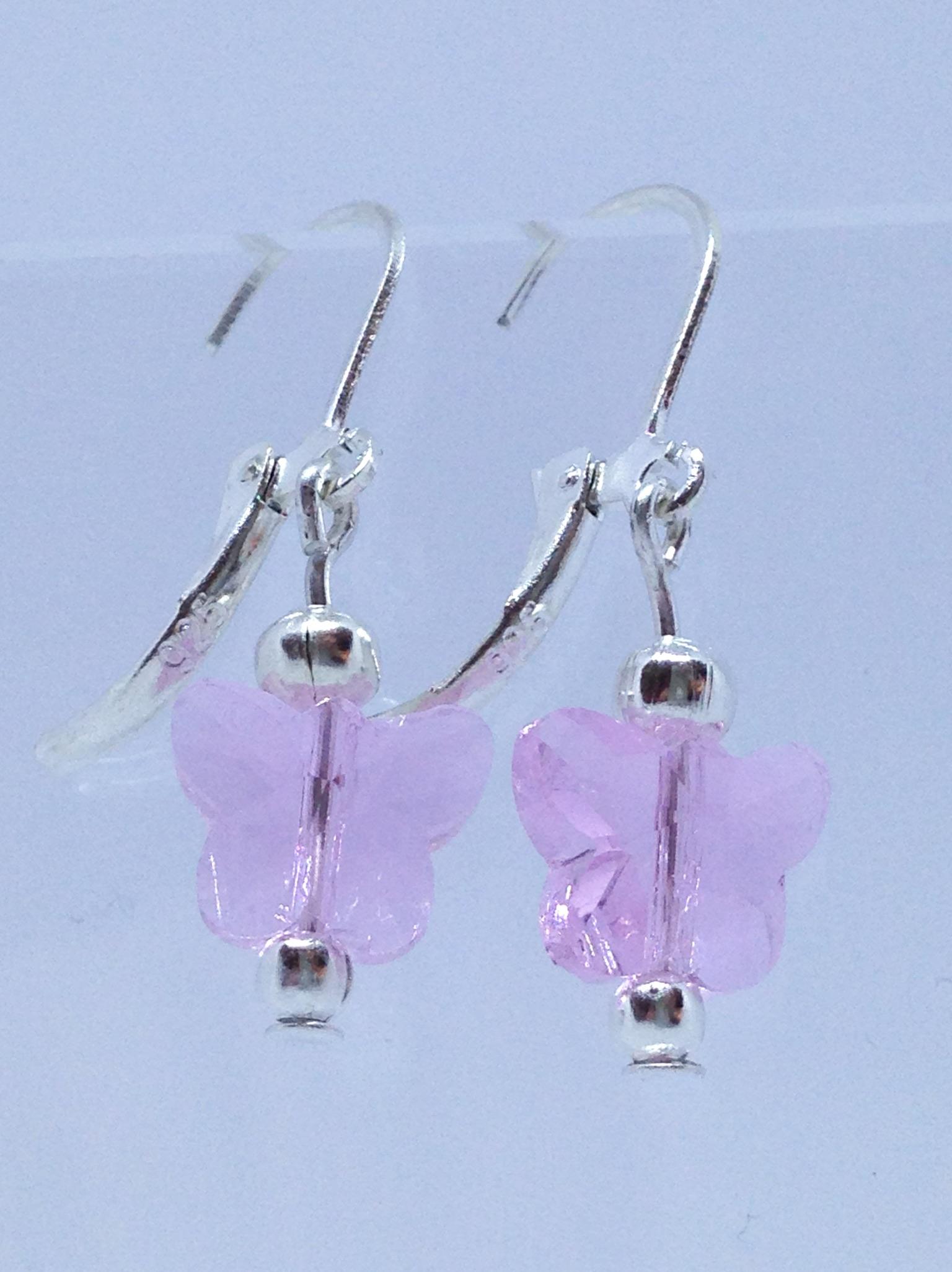 Bijou fait main pas cher de créateur - boucles papillons en cristal rose- petit budget