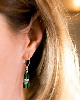 Boucles d'oreilles vertes en cristal