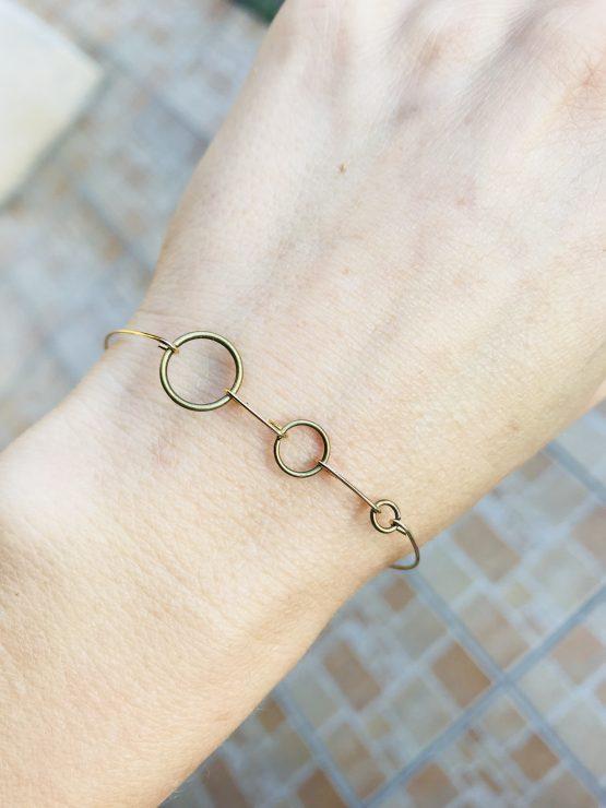Bracelet ronds bronze et or plaqué Olivia