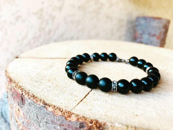 Bracelet noir homme avec cristal gris Blasties