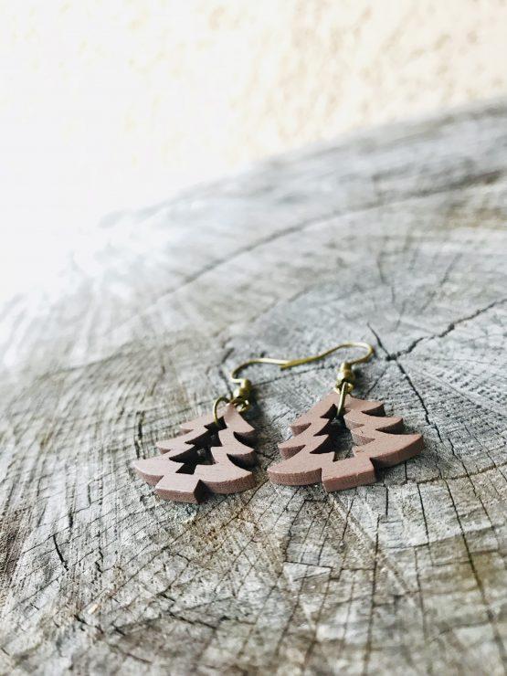 Boucles d'oreilles sapin marron