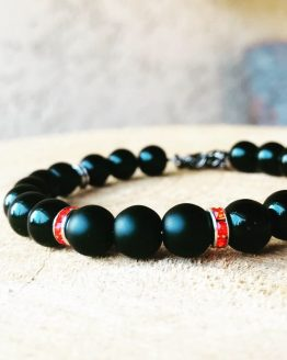 Bracelet homme avec cristal rouge orange Blasties