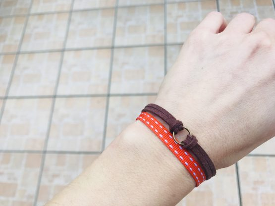 Bracelet et collier - Bijou modulable - marron et orange