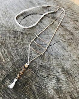Collier long pompomdida argentee et blanc