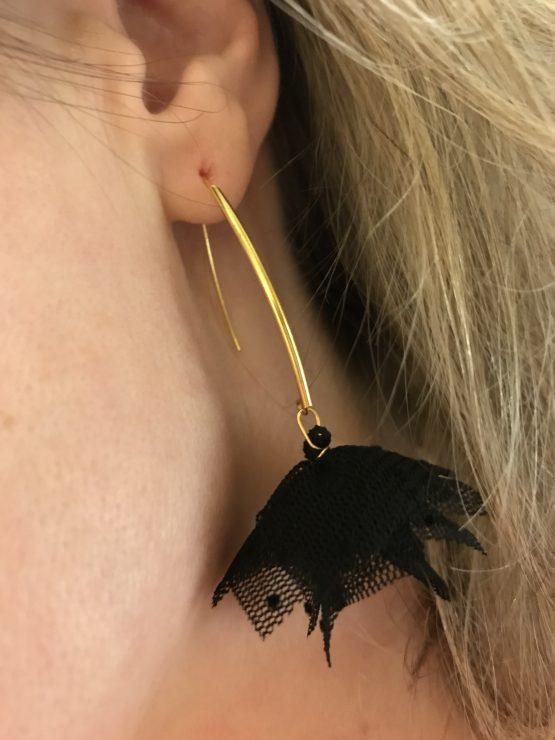 Boucles d'oreilles noires et or