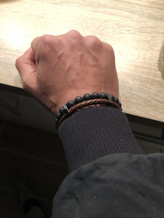 Bracelet homme cuir et pierres de lave
