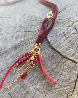 Collier rouge - Sautoir rouge