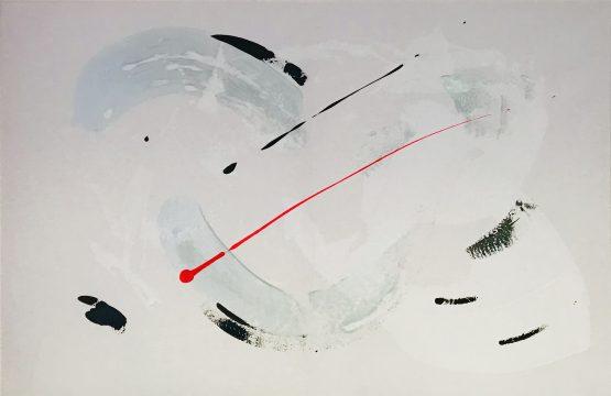 Tableau abstrait blanc argenté (gris), noire et rouge
