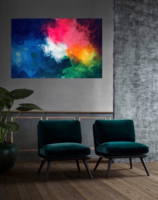 Toile abstraite multicolore de grande taille