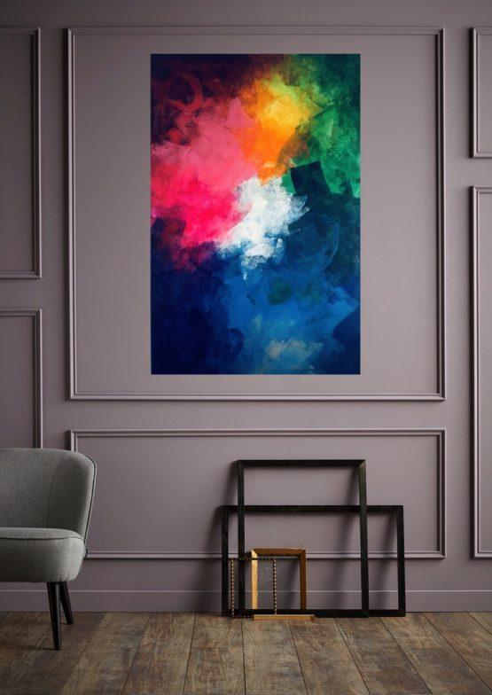 Oeuvre colorée de grande taille 115 x 75 cm