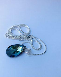 Cristal vert bleu très haute brillance