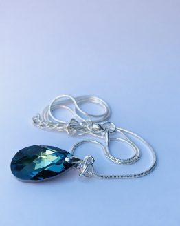 Collier de haute fantaisie avec pendentif vert bleu