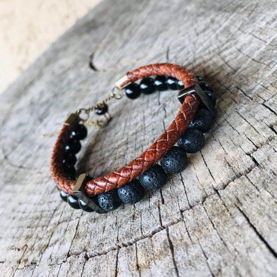 Bracelet pierres de lava, onyx, cuir et inox