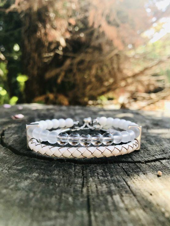 Bracelet double blanc Barbara