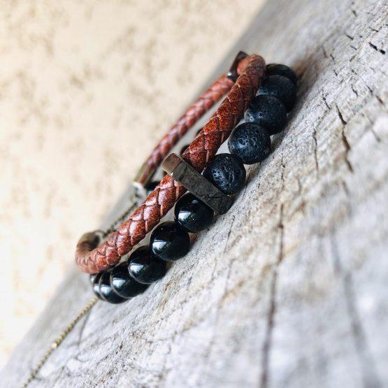 Bracelet homme, noir et marron, avec pierres de lava, onyx et inox