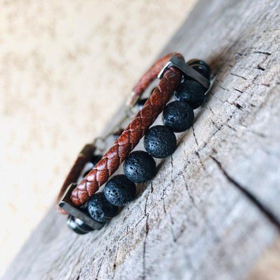 Bracelet homme, pierres de lava, onyx noires brillantes, inox noir