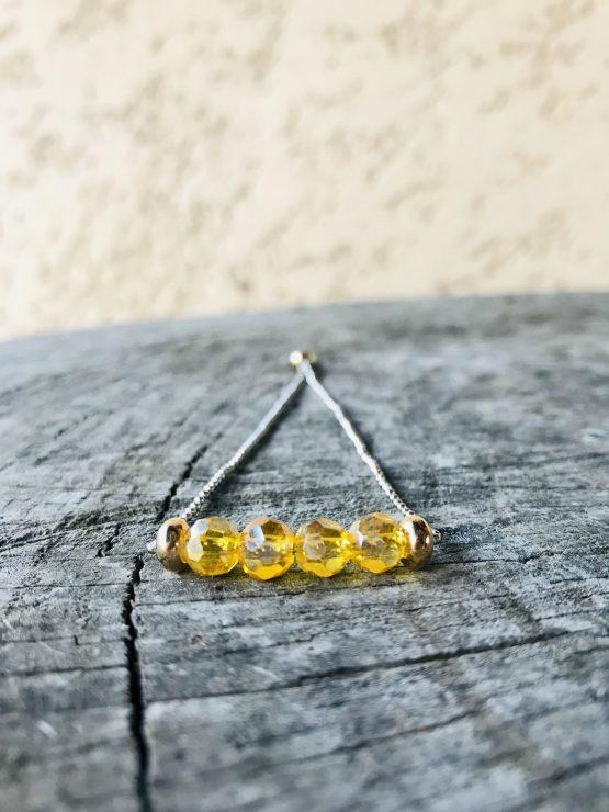Bracelet Mona jaune cristal transparent