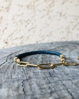 Bracelet homme avec cuir bleu pétrole et acier plaqué or