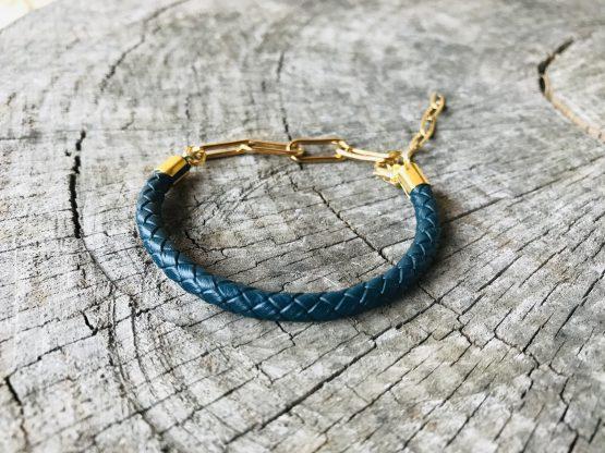Bracelet homme Chris avec cordon bleu pétrole et chaîne acier plaqué or