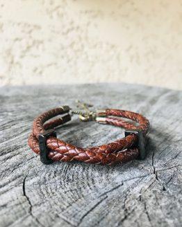 Bracelet homme avec deux cordons en cuir tressé marron