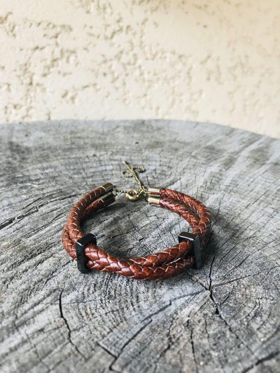 Bracelet homme avec cuir tressé croisé marron