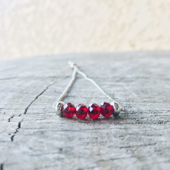 Bracelet Mona rouge cristal transparent
