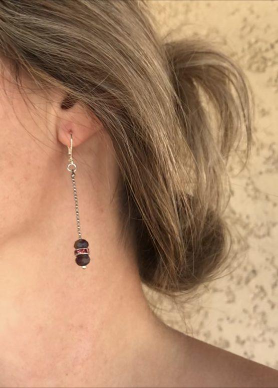 Boucles d'oreilles Anaelle violettes